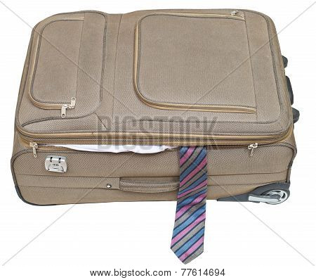 Ajar Textile Suitcase With Male Tie Isolated