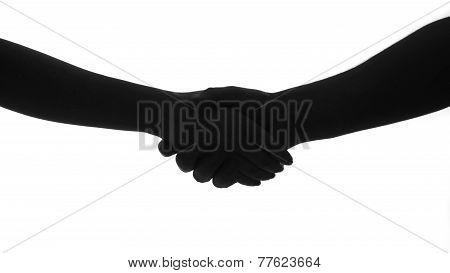 hand shake man woman silhouette