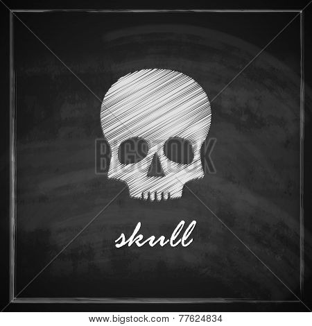 illustration with a skull on blackboard background
