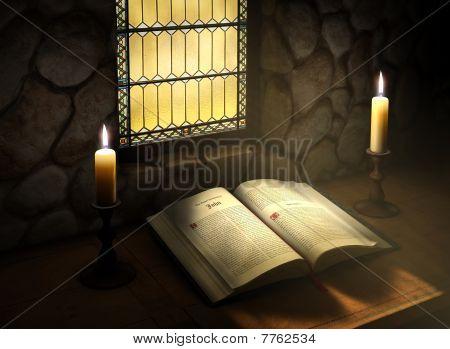 Open Bible In Sunlight
