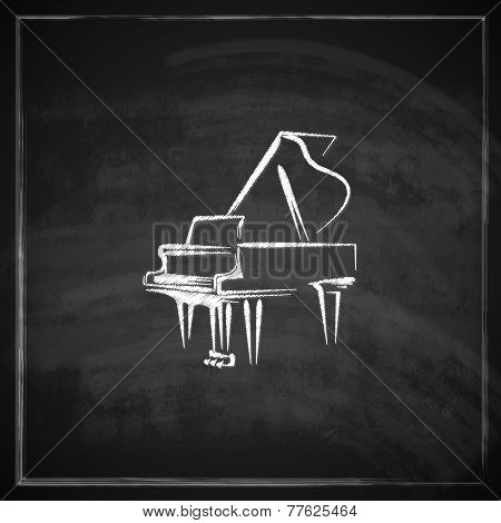 vintage illustration with the grand piano on blackboard background.