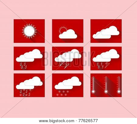 Weather Forecast Icons In Red Squares