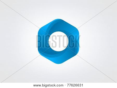 blue hexagon loop business vector logo design