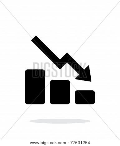 Graph down icon on white background.