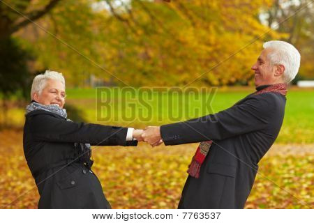 Senior Citizens Dancing In A Park