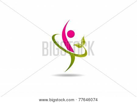 Natural beauty body fit logo symbol design vector.