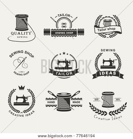 Set of tailor labels, emblems and design elements. Tailor shop. Logo poster