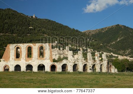 The Town Of Gubbio With The Roman Amphitheater In The Foreground