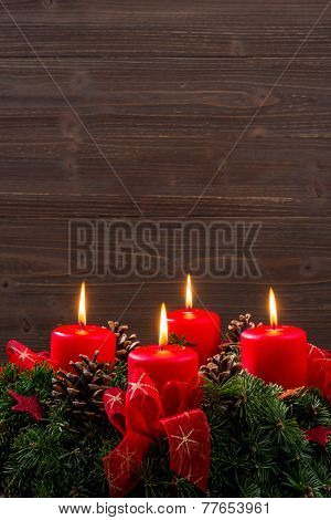 an advent wreath for christmas ensures romatinsche mood in the silent advent. poster