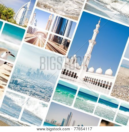 Collage of photos from Dubai and Abu Dhabi. UAE