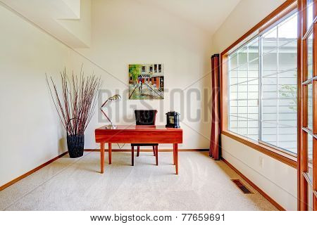 Bright Office Room With High Ceiling And Big French Window