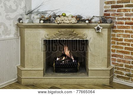 Christmas Decorated Marble Fireplace