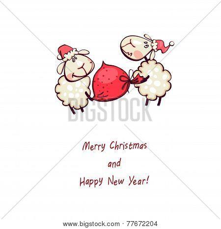 Rams with christmas sack