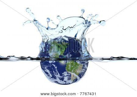 Planet Earth Splashing In Water