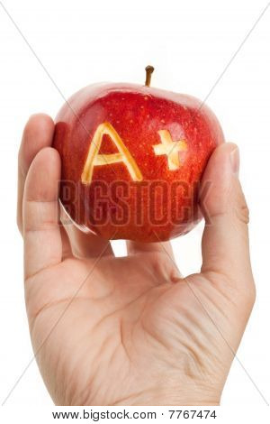 Red Apple And A Plus Sign