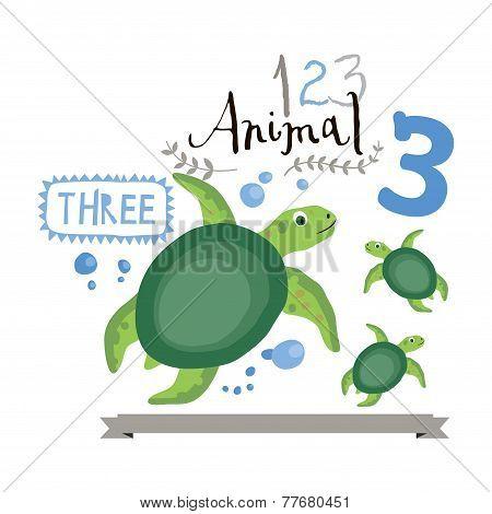 Children alphabet of animals and figures. Number three. Vector illustration