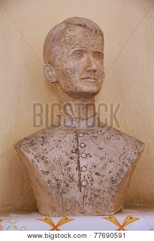 TRAVNIK, BOSNIA AND HERZEGOVINA - JUNE 11: The bust of the Servant of God Peter Barbaric in the Church of St. Aloysius in in Travnik, Bosnia and Herzegovina on June 11, 2014.