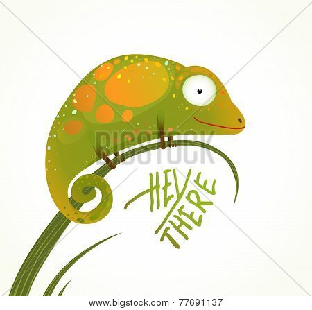 Colorful Lizard Childish Animal Fun Cartoon with Sign Hey There