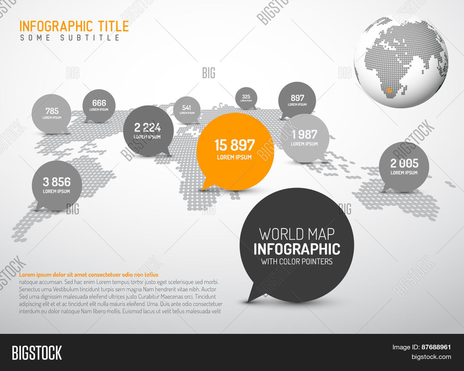 Vector y foto light world map simple pointer bigstock light world map with simple pointer marks speech bubbles minimalist black and white gumiabroncs Gallery