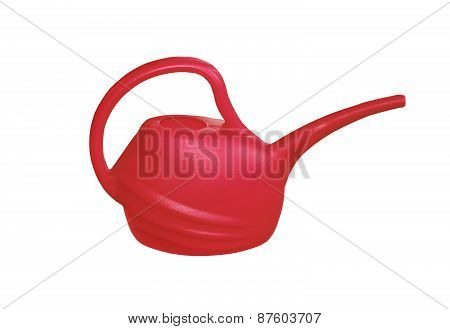 Red Plastik Watering Can Isolated On White