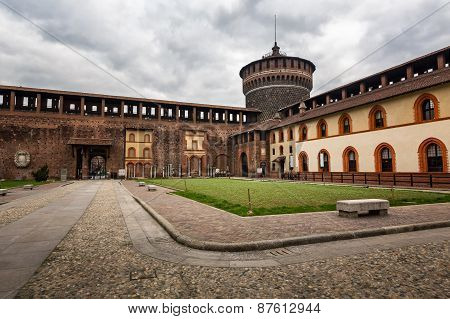 The Wall And Towers Of Castello Sforzesco (sforza Castle) In Milan, Italy