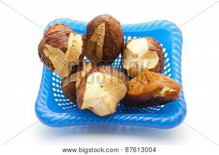 Fresh Baked Brown Lye Bread Rolls