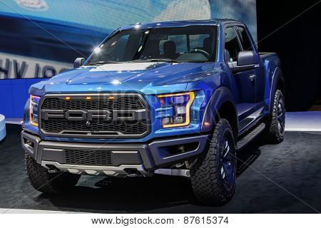 NEW YORK - APRIL 1: Ford exhibit Ford Raptor at the 2015 New York International Auto Show during Press day,  public show is running from April 3-12, 2015 in New York, NY.