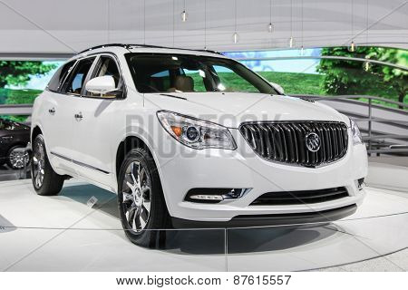 NEW YORK - APRIL 1: Buick exhibit Buick Enclave at the 2015 New York International Auto Show during Press day,  public show is running from April 3-12, 2015 in New York, NY.