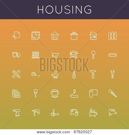 Vector Housing Line Icons
