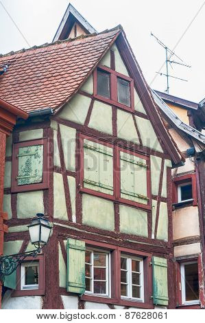 single half timbered house in alsace