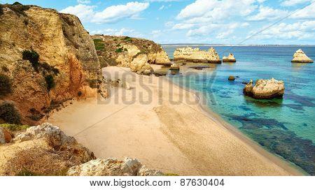 Scenic Beach At The Atlantic Ocean