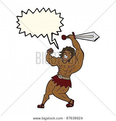 cartoon barbarian hero with speech bubble