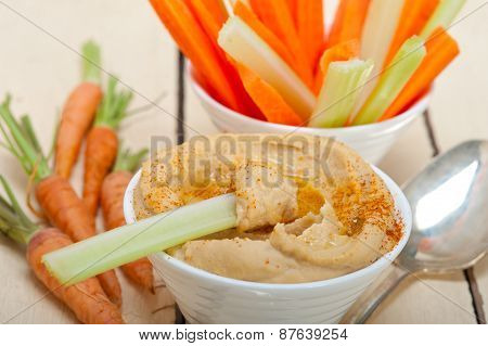 Fresh Hummus Dip With Raw Carrot And Celery