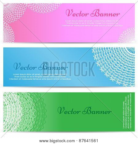 Lacework Ornamental Banners Horizontal Set Isolated