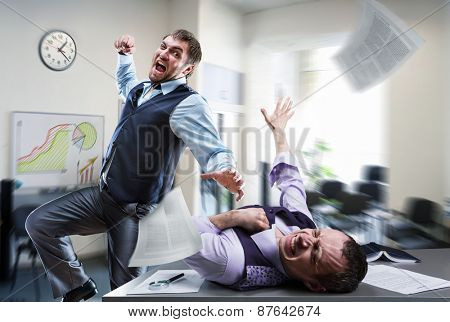 Businessmen fighting in the office poster