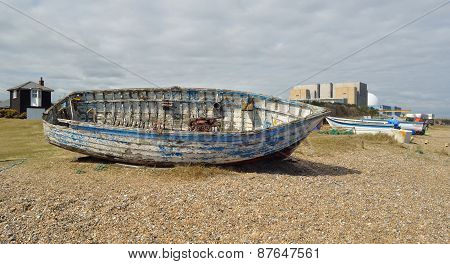Old boat on Sizewell beach