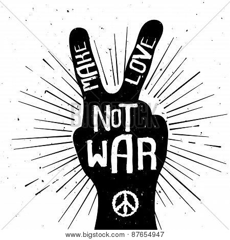 Grunge Distressed Peace Sign Silhouette With Make Love Not War Text