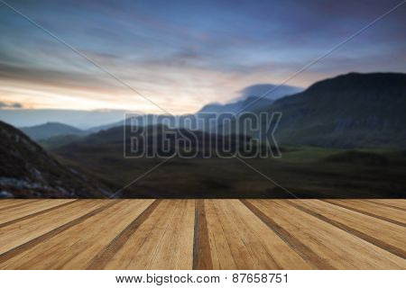 Stunning Sunrise Mountain Landscape With Vibrant Colors And Beautiful Cloud Formations With Wooden P