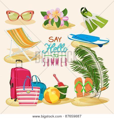 Summer set with beach items