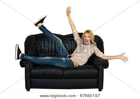 Young Woman Laing On The Sofa