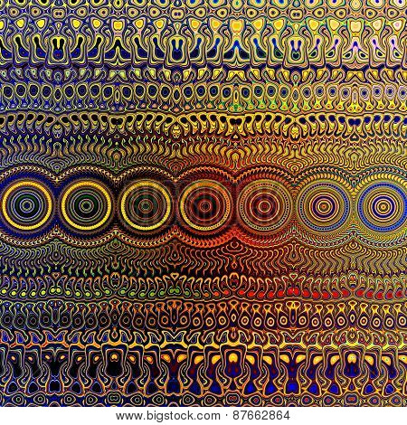 Psychedelic colourful pattern. Unique abstract artwork. Creative geometrical background design.