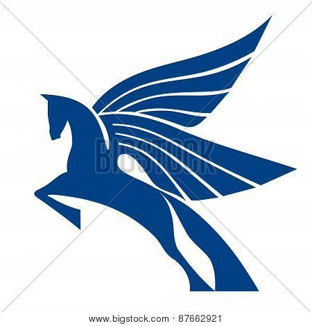 Pegasus Horse Sign. Vector logo template.