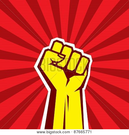 Hand Up Proletarian Revolution - Vector Illustration Concept in Soviet Union Agitation Style.