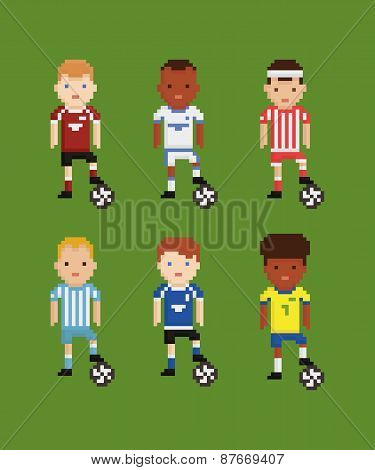 pixel art style vector set - football soccer players in different uniforms on green field holding th