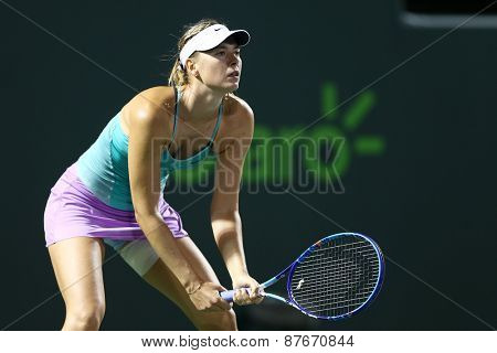 KEY BISCAYNE, FL-MAR 26: Maria Sharapova of Russia waits for the serve during day four at the Miami Open at Crandon Park Tennis Center on March 26, 2015 in Key Biscayne, Florida.