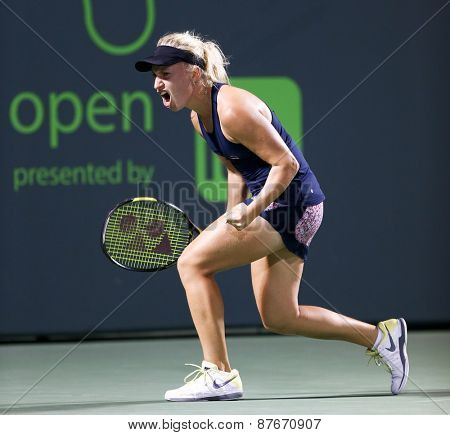 KEY BISCAYNE, FL-MAR 26: Daria Gavrilova of Russia reacts after a point during day four at the Miami Open at Crandon Park Tennis Center on March 26, 2015 in Key Biscayne, Florida.