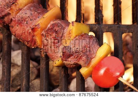 Weekend Bbq Meat Beef  Kebab Or Kabob On Flaming Grill