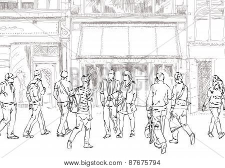 People and tourists in Bond street. London. Sketch collection