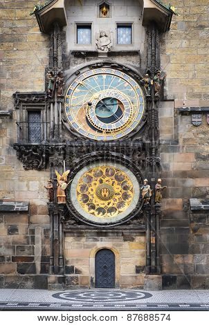 Medieval Astronomic Clock (orloj) On The Old Town Hall Tower At Staromestska Square In Prague