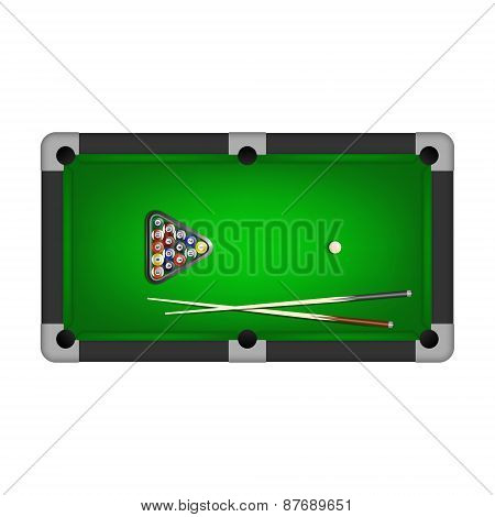 Billiards Balls, Triangle And Two Cues On A Pool Table. Vector Illustration.
